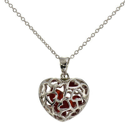 Necklaces & Pendants 925 Silver July Birthstone Ruby Simulated Heart 18""