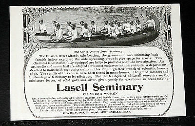 1900 Old Magazine Print Ad, Lasell Seminary For Young Women, Auburndale, Mass!