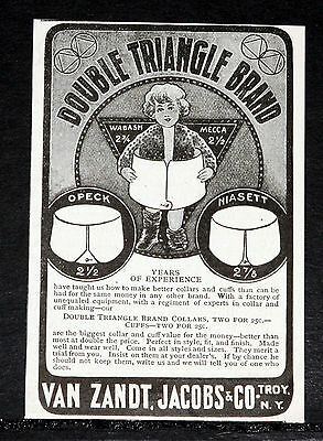 1900 Old Magazine Print Ad, Double Triangle Brand Collars Cuffs, Opeck, Niasett!
