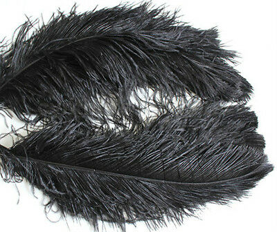"1 pc of 20-22"" Male Black Ostrich Drab Plume Feather for Wedding deco, Millinery"