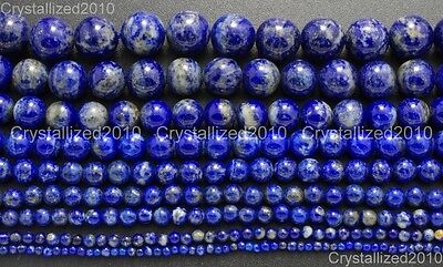 Natural Lapis Lazuli Gemstone Round Beads 2mm 3mm 4mm 6mm 8mm 10mm 12mm 15.5''