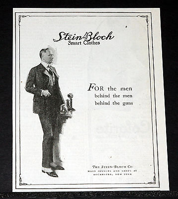1918 Old Wwi Magazine Print Ad, Stein-Bloch Smart Clothes For Men, Fashion Art!