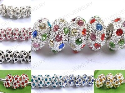 Free Shipping CZ Crystal Silver Spacer European Big Hole Loose Charms Beads 12MM