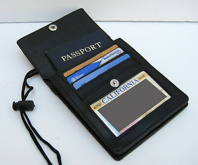 BLACK GENUINE LEATHER PASSPORT ID Holder Pouch Wallet Neck Strap Organizer