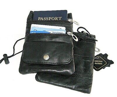 Set of 2 PASSPORT Genuine Leather ID Holder Neck Pouch Wallets Travel SALE