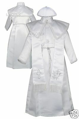 New Baby Boy &Toddler Christening Baptism Gown suit  new born-30M white/silver