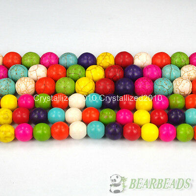 """Mixed Color Howlite Turquoise Gemstone Round Beads 4mm 6mm 8mm 10mm 12mm 16"""""""