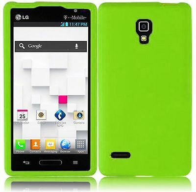 For T-Mobile LG Optimus L9 Rubber SILICONE Soft Gel Skin Case Cover Neon Green