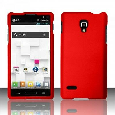 For LG Optimus L9 Rubberized HARD Protector Case  Phone Cover Red
