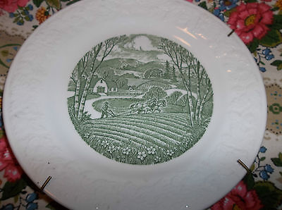 "green farm w/horses on the hill plate done by PASTORAL made in USA 6.5""dia."