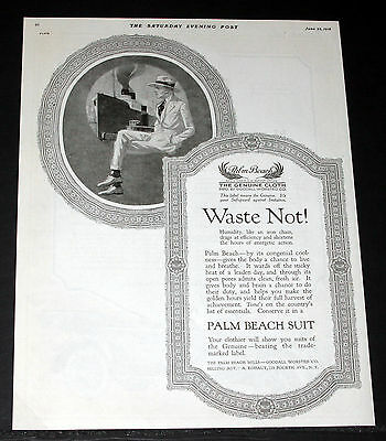 1918 Old Magazine Print Ad, Palm Beach Suits Congenial Coolness, Live & Breathe!
