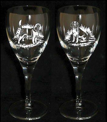 BEAGLE GIFT - Boxed PAIR WINE GLASS *DOG GIFT*
