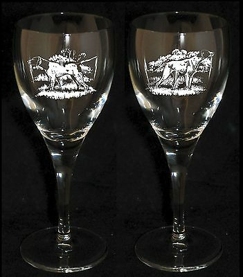ENGLISH POINTER GIFT - Boxed  PAIR WINE GLASS *DOG GIFT*