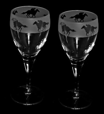 RACE HORSE & JOCKEY FRIEZE - Boxed PAIR WINE GLASS *HORSE GIFT*