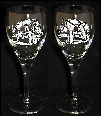 WIRE FOX TERRIER GIFT - Boxed PAIR WINE GLASS *DOG GIFT*