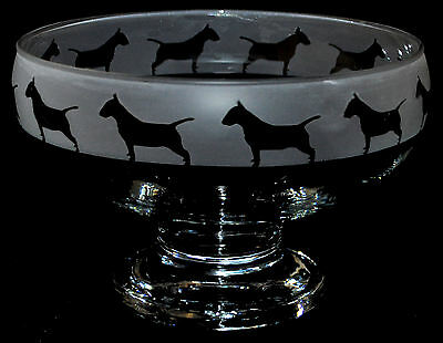 *DOG GIFT* ENGLISH BULL TERRIER Boxed Footed Glass Bowl with FROSTED FRIEZE