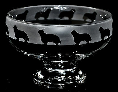 *dog Gift* Cavalier King Charles Spaniel ~ Footed Clear Glass Bowl