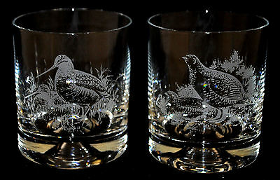 *GAME BIRD GIFT* Pair Glass Whisky Tumbler with engraved GROUSE / WOODCOCK
