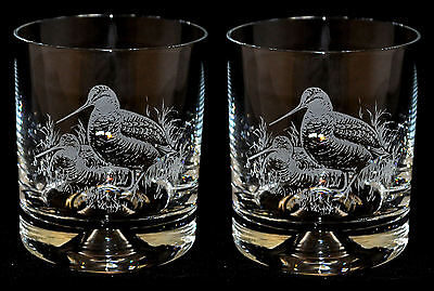 PAIR Glass Whisky Tumbler with engraved WOODCOCK designs *GAME BIRD GIFT*