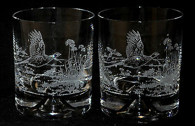 Boxed Pair WHISKY TUMBLER GLASSES with FLYING PHEASANT designs *GAME BIRD GIFT*