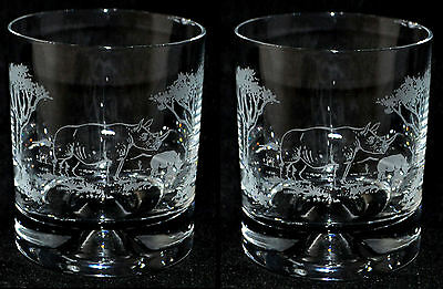 *RHINO GIFT* Boxed PAIR GLASS WHISKY TUMBLER with RHINOCEROS SCENE