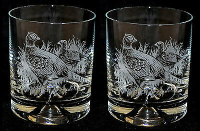 PAIR Glass Whisky Tumbler with engraved PHEASANT designs *GAME BIRD GIFT*