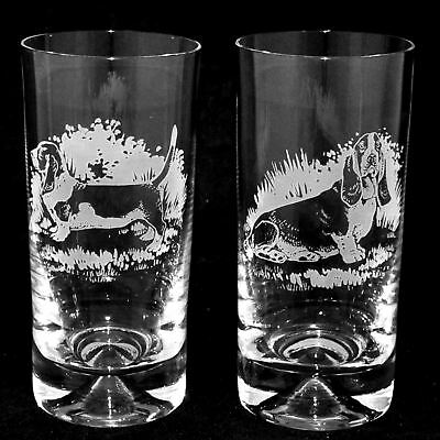 BASSET HOUND*DOG GIFT* Boxed PAIR GLASS HIGHBALL TUMBLER
