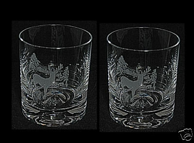 THREE STAGS *DEER GIFT* Boxed PAIR GLASS WHISKY TUMBLER