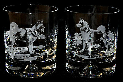 *DOG GIFT* 2 Glass Whisky Tumblers with AKITA designs