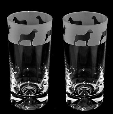 ROTTWEILER FRIEZE *DOG GIFT* Boxed PAIR GLASS HIGHBALL TUMBLER