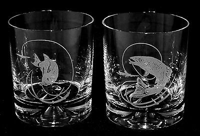 Glass Whisky Tumblers SALMON / TROUT *FISHING GIFT*
