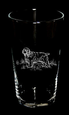 Pint Beer Glass Engraved with CLUMBER SPANIEL - BNIB