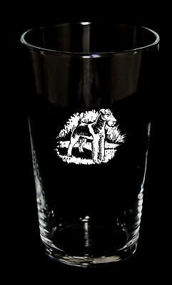 PINT BEER GLASS with WIRE FOX TERRIER design *Dog Gift*
