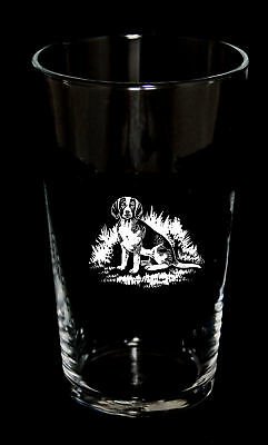 PINT BEER GLASS with BEAGLE design *Dog Gift*