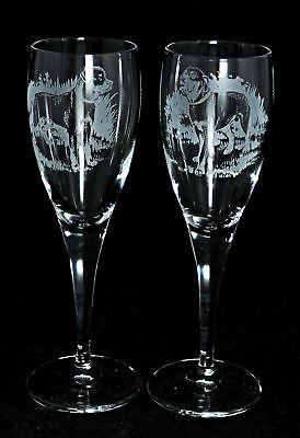 *DOG GIFT* PAIR CHAMPAGNE GLASS with ROTTWEILER design