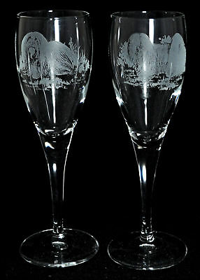 *DOG GIFT* PAIR CHAMPAGNE GLASS with LHASA APSO designs