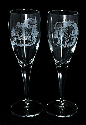 Pair Champagne Glass ~ Staffordshire Bull Terrier Gift