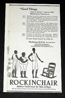 1918 Old Magazine Print Ad, Rockingchair Athletic Underwear, For Men And Boys!