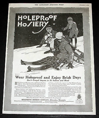 1918 Old Magazine Print Ad, Holeproof Hosiery, Enjoy The Brisk Winter Days, Art!
