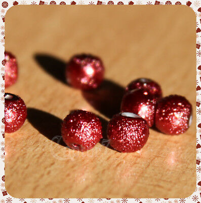30 PERLE PERLINE MARTELLATE IN VETRO 6 mm COLOR BORDEAUX bordò STARDUST BEADS