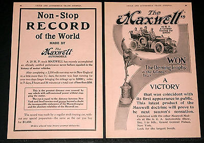 1906 Old 2 Pg Magazine Print Ad, Maxwell 12 Hp Speedster And 20 Hp Touring Car!