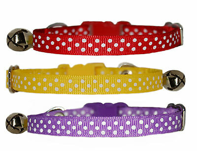 yellow pink purple red blue emerald  navy white polka  safety kitten cat collar