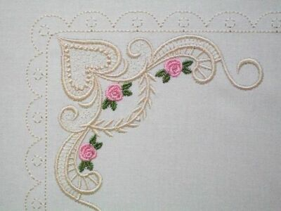 Antique Lace & Roses Embroidered Quilt Label Customize for quilt tops or blocks