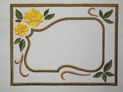 Golden Roses Embroidered Quilt Label Customize for quilt tops or blocks