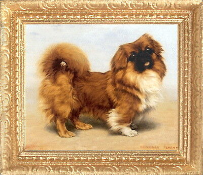 PEKINGESE Miniature Framed Dollhouse Picture MADE IN AMERICA FAST DELIVERY