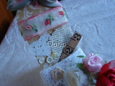 Fancy Whimsical Ribbons Roses are Red....Embellishment Kit Vintage Ribbon antiqu