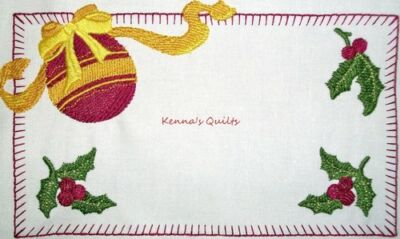 Christmas Holly Embroidered QUILT LABEL Custom for Quilt tops