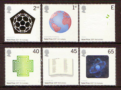 Great Britain 2001 Nobel Prizes Special Offer Unmounted Mint Set 6