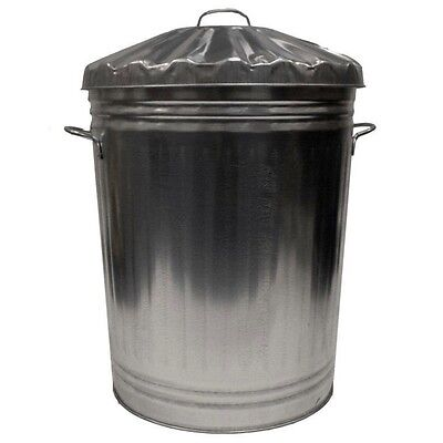 Metal Galvanised Bin Waste Rubbish Garden Outdoor Dustbin Storage + Lid 90 litre