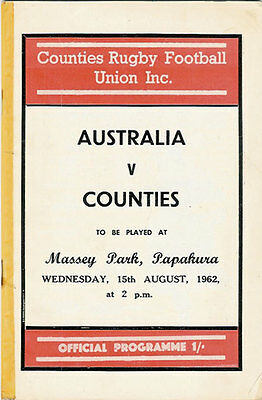 Counties v Australia RUGBY PROGRAMME 15 Aug 1962, Papakura
